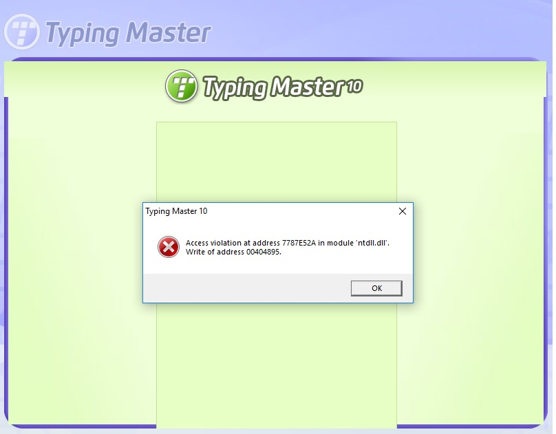 TypingMaster User Support FAQ :: Access Violation error while